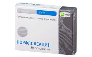 Норфлоксацин: от чего помогает, аналоги, отзывы